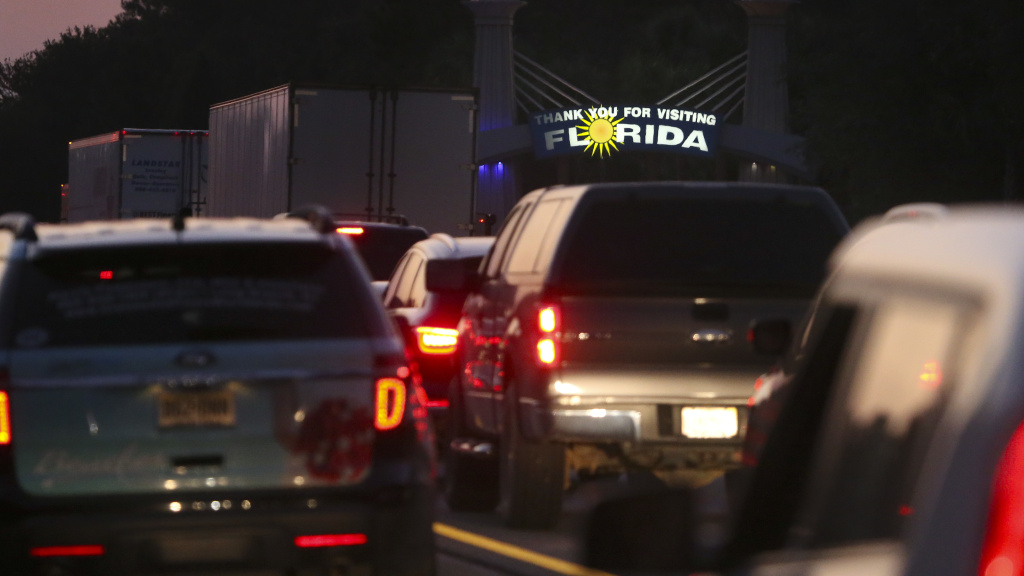 Traffic backed up on Interstate 75 near the Florida/Georgia state line as people fled Hurricane Irma on Sept. 8, 2017, in Jennings, Fla.
