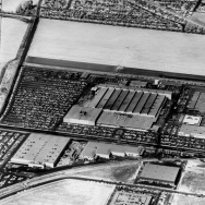 1960 aerial view looking west onto Rocketdyne Missile Division, Canoga Avenue.