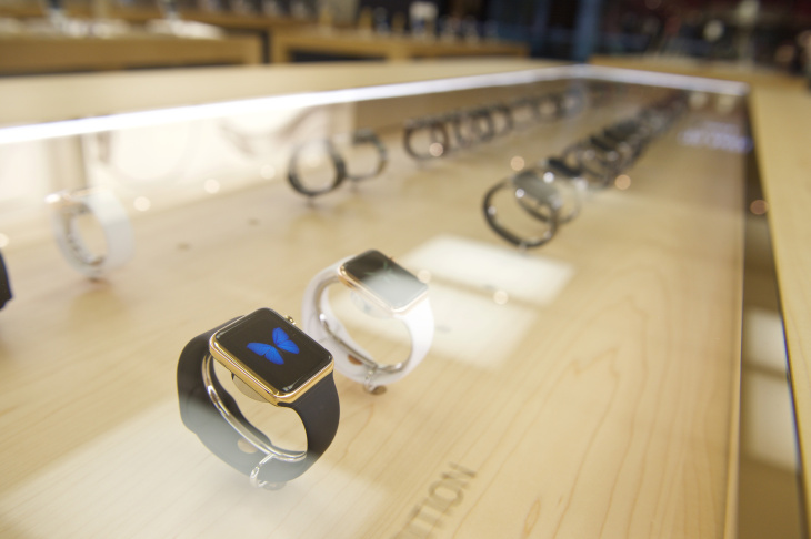 The Apple Watch Edition is on display for the release of the Apple Watch at the Eaton Centre Apple Store on Friday, April 10, 2015 in Toronto. (Photo by Ryan Emberley/Invision for Apple/AP Images)