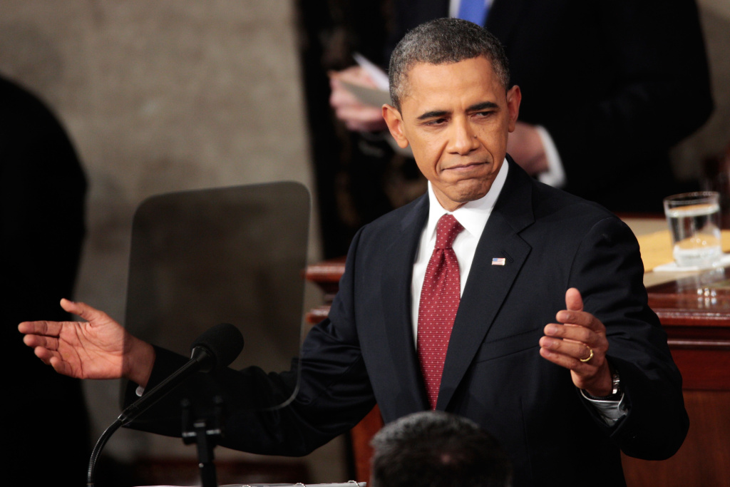 U.S. President Barack Obama gestures as he delivers his State of the Union address on Jan. 24, 2012. This week, Obama defended his immigration record during a Washington, D.C. town hall meeting after a prominent immigrant advocate referred to him as