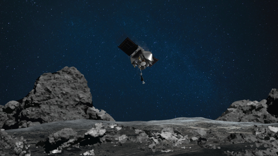 An artist's rendering shows NASA's OSIRIS-REx spacecraft descending toward the asteroid Bennu to collect a sample of the asteroid's surface.