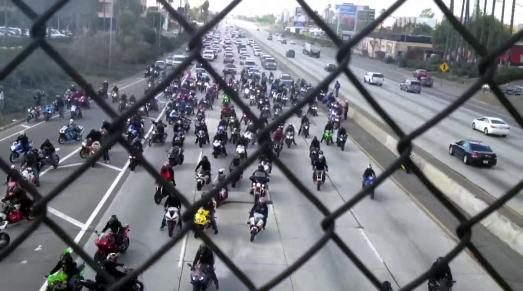 Bikers block traffic on Interstate 10 for a marriage proposal Sunday, Jan. 27, 2013.