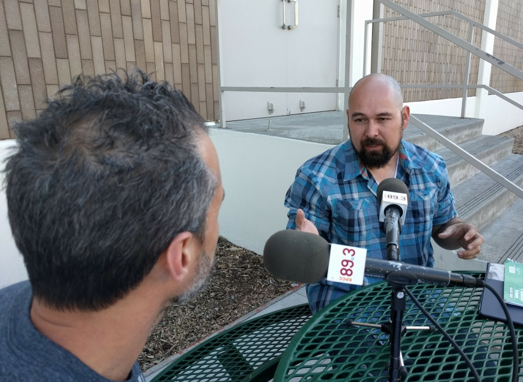 KPCC listener Everardo Landero (R) talks with host A Martinez. Landero hopes to get his U.S. citizenship by the end of 2017.