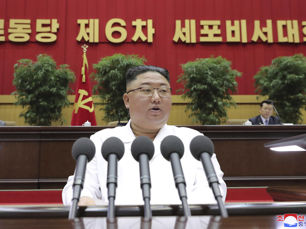 North Korean leader Kim Jong Un delivers a speech in Pyongyang on April 8. On Sunday, the North Korean government said President Biden made a