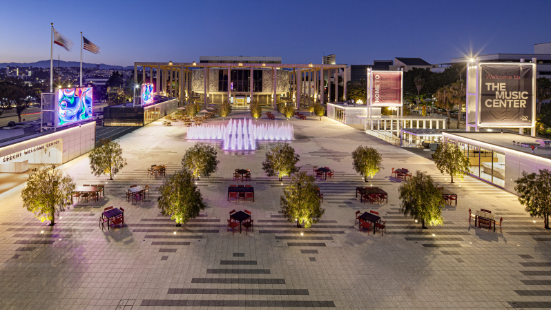 The newly renovated plaza joins Ahmanson Theatre, Walt Disney Concert Hall, Dorothy Chandler Pavilion, and Mark Taper Forum as the Music Center's