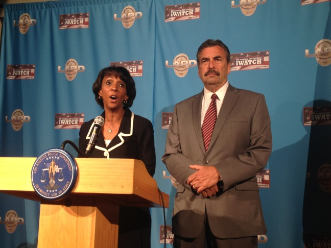 L.A. County District Attorney Jackie Lacey and Los Angeles Police Chief Charlie Beck announce murder charges and allegations against an SUV driver for