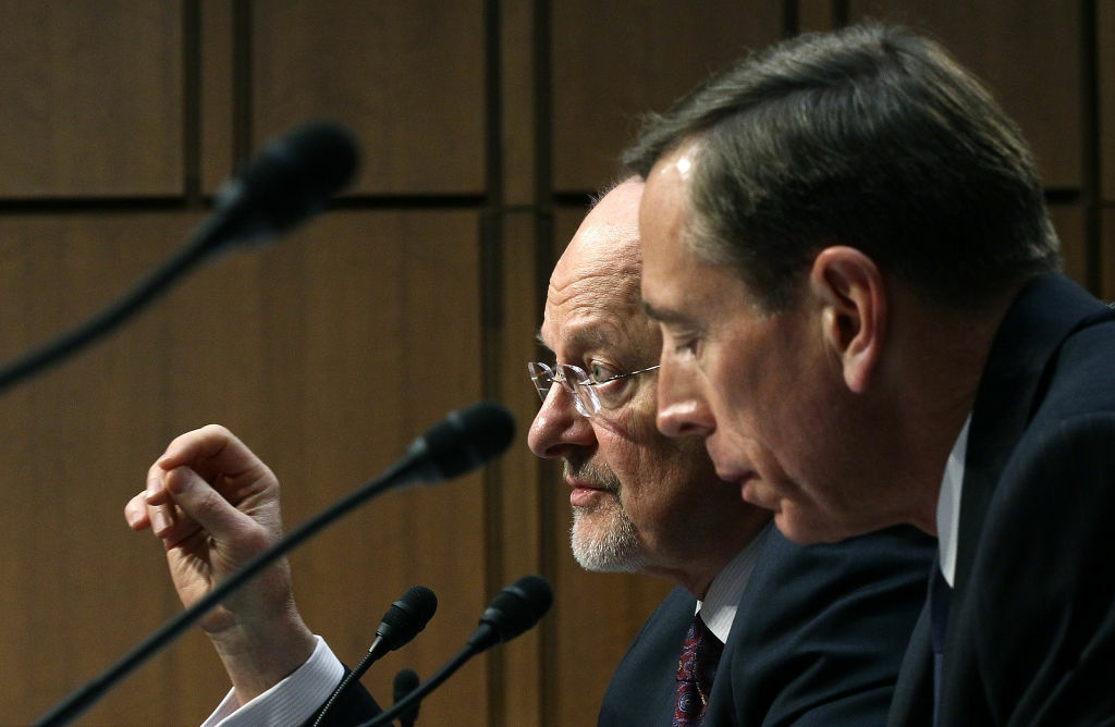 U.S. Director of National Intelligence James Clapper and CIA Director David Petraeus testify before the Senate Select Committee on Intelligence on Capitol Hill January 31, 2012.
