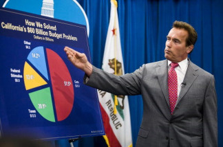 California Governor Arnold Schwarzenegger holds a press conference after the legislature successfully passed a solution to the state's budget problem July 24, 2009 in Sacramento, California. Schwarzenegger and legislative leaders reached a budget deal Monday to close California's $26 billion budget gap.