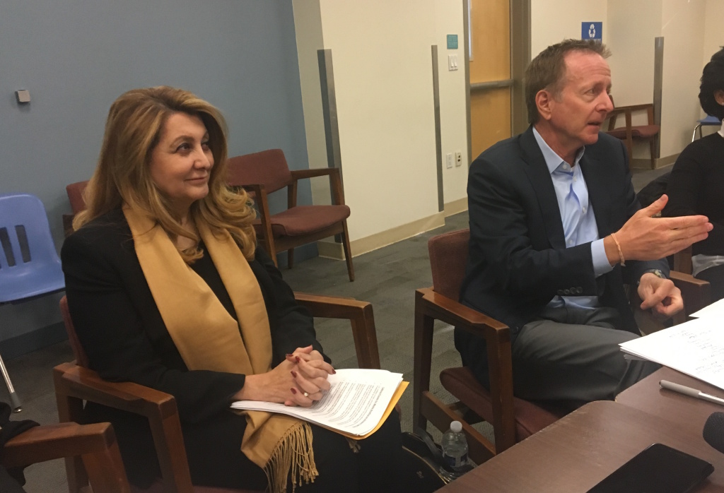 FILE - Vivian Ekchian (left), acting superintendent of the Los Angeles Unified School District, conducts a press briefing alongside Austin Beutner, former L.A. Times publisher and head of an advisory task force for the district, on Tuesday, Dec. 5, 2017.