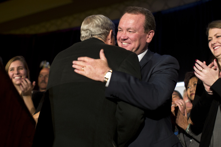 Los Angeles County Sheriff candidate Jim McDonnell prepares to speak to supporters during his election party on Tuesday night, Nov. 4, 2014 at the JW Marriott at LA Live.