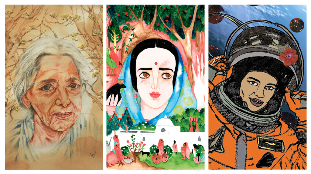 From left: Janaki Ammal (1897-1984), a botanist who developed a sweeter type of sugar cane; Amrita Sher-Gil (1913-1941), a Hungarian-Indian artist who loved painting traditional Indian customs; and Kalpana Chawla, the first woman of Indian origin to go into space.