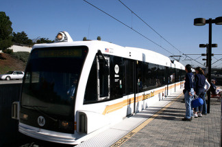 Metro Gold Line rail car at the Allen Station in Pasadena.