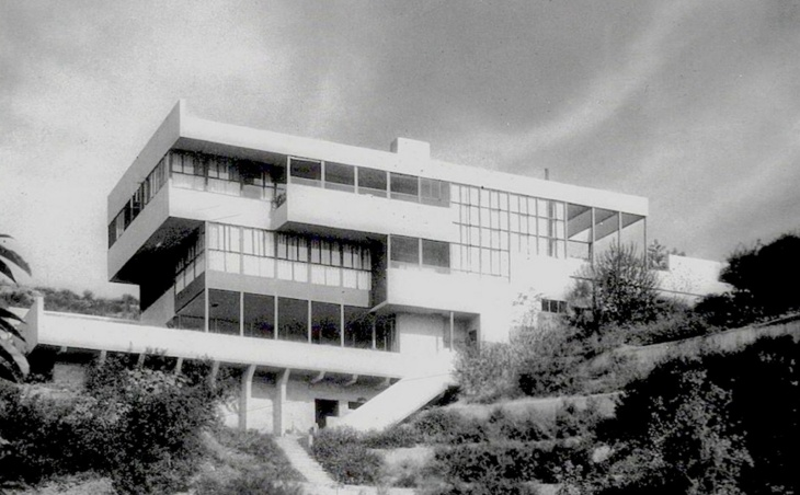 The Kings Road house in West Hollywood designed by Rudolph Schindler where he and Richard Neutra lived with their wives in the 1920s.