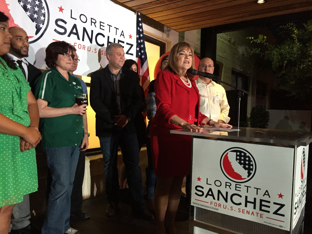 U.S. Senate candidate Loretta Sanchez speaks to supporters after polls closed on Tuesday, June 7, 2016.