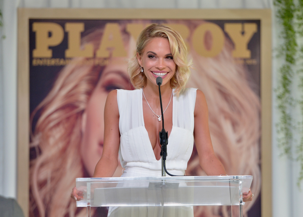 Dani Mathers speaks onstage during Playboy's 2015 Playmate of the Year Ceremony at the Playboy Mansion on May 14, 2015 in Los Angeles, California.