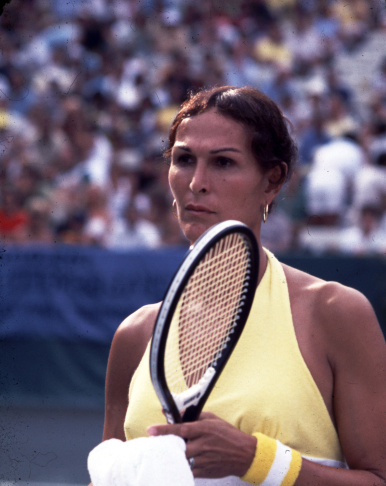 Tennis player Renee Richards on the tennis court, July 1977.