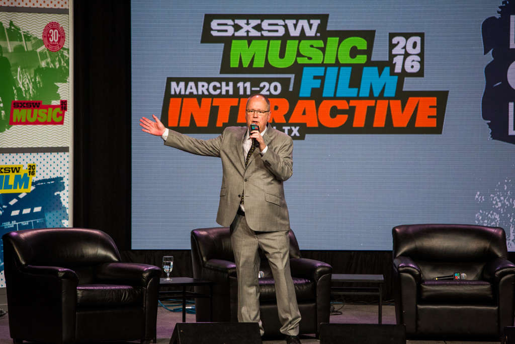 SxSW CEO and co-founder Roland Swenson introduces first lady Michelle Obama at the 2016 festival.