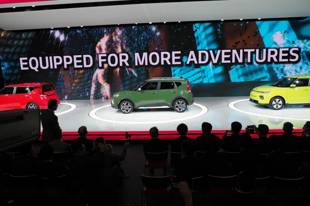 The new 2020 Kia Soul GT (L), Soul X (C) and Soul Eco/electric (R) are unveiled at  AutoMobility LA, the trade show ahead of the LA Auto Show, November 28, 2018, at the Los Angeles Convention Center.