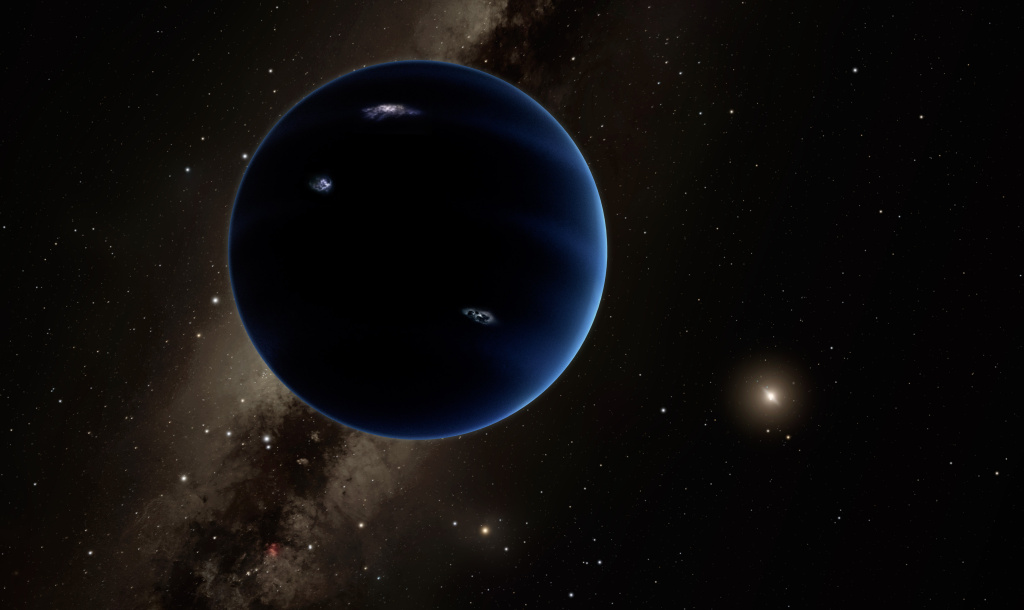 An artist's depiction of Planet Nine. The planet is thought to be gaseous, similar to Uranus and Neptune. Hypothetical lightning lights up the night side.