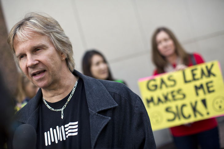 Matt Pakucko, president and co-founder of Save Porter Ranch, speaks to the media during a press conference on a gas leak in Porter Ranch after a regular Los Angeles County Board of Supervisors meeting on Tuesday, Nov. 24, 2015.
