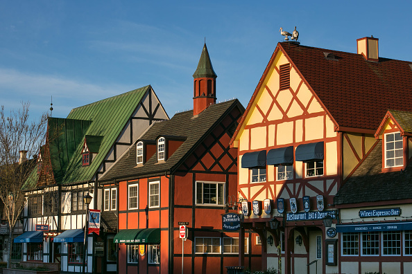 SOLVANG, CA - MARCH 15:  The Danish architecture along Alisal Road is viewed at sunrise on March 15, 2017, in Solvang, California. Because of its close proximity to Southern California and Los Angeles population centers and Mediterranean climate, the coastal regions of Santa Barbara have become a popular weekend getaway destination for millions of tourists each year. (Photo by George Rose/Getty Images)
