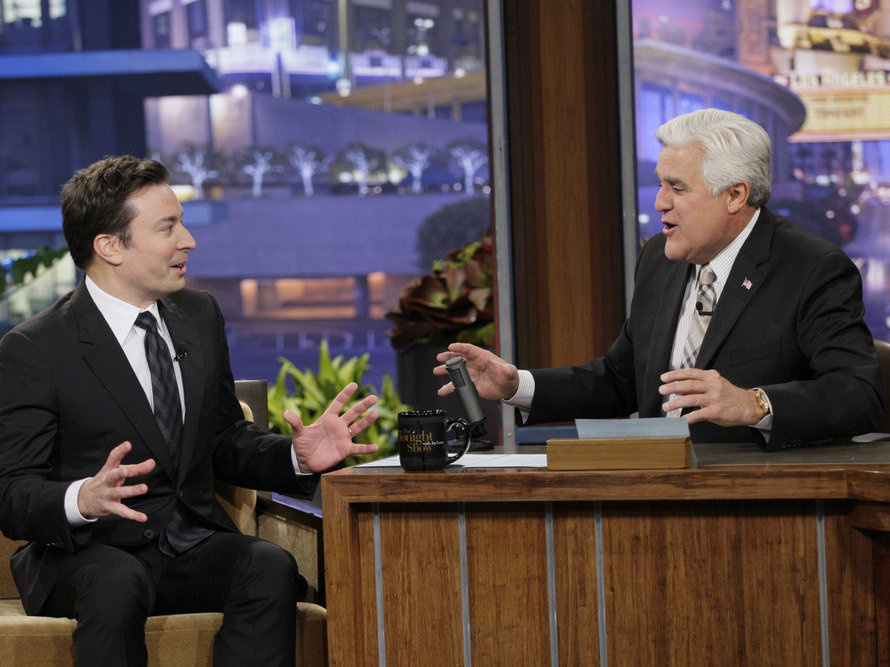 Jimmy Fallon appears with Jay Leno on one of the latter's final <em>Tonight Shows</em>.