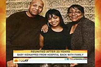 Carlina White, center, and her birth parents.