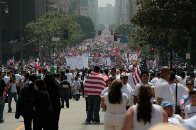 Immigrant rights marchers in downtown Los Angeles on May 1, 2006, during the last great immigration debate. Then as now, the term