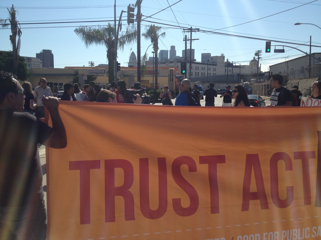 Supporters of the TRUST Act rally outside Central Men's Jail in downtown Los Angeles.