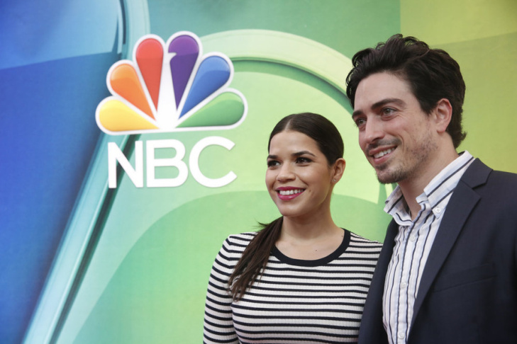 2015 NBC Upfront Presentation red carpet arrivals. Pictured: (l-r) American Ferrera, Ben Feldman from