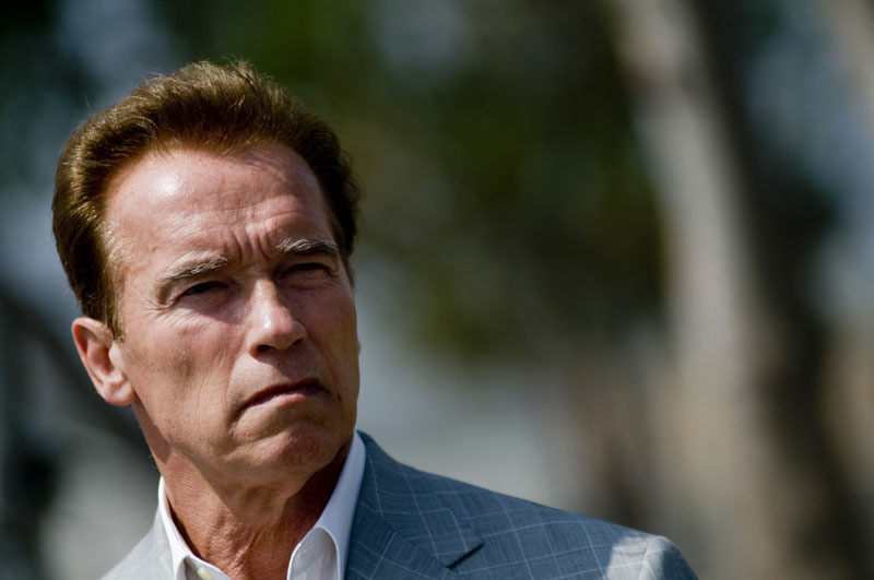 California Governor Arnold Schwarzenegger looks on during a press conference at the California Institution for Men prison on August 19, 2009 in Chino, California.