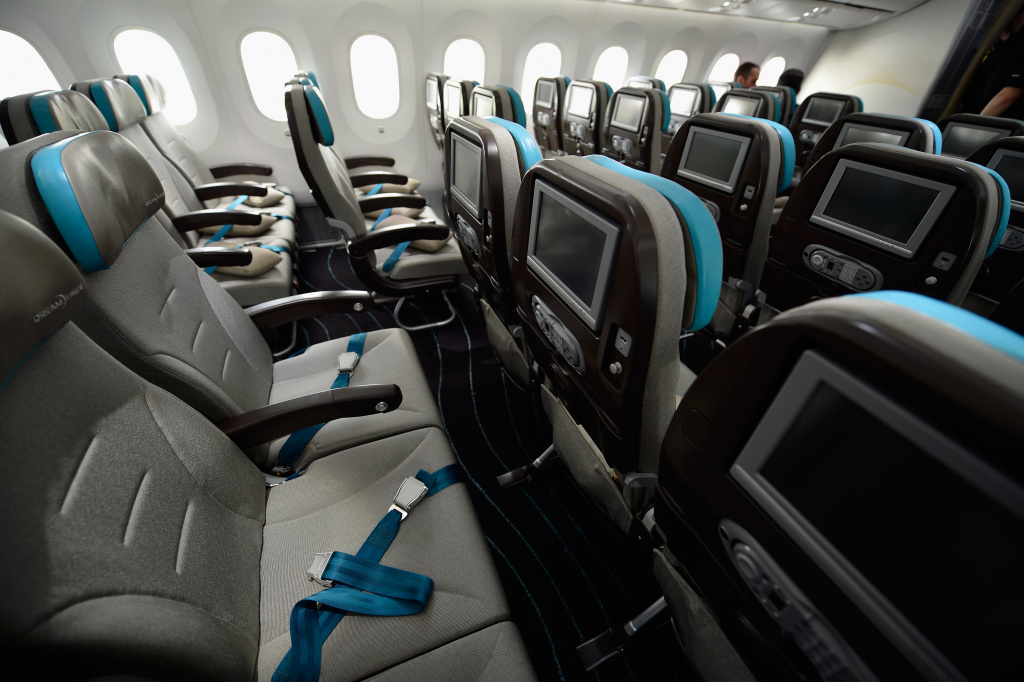The interior of the new Boeing Dreamliner 787 as it sits on the tarmac at Manchester Airport during it's tour of the world.
