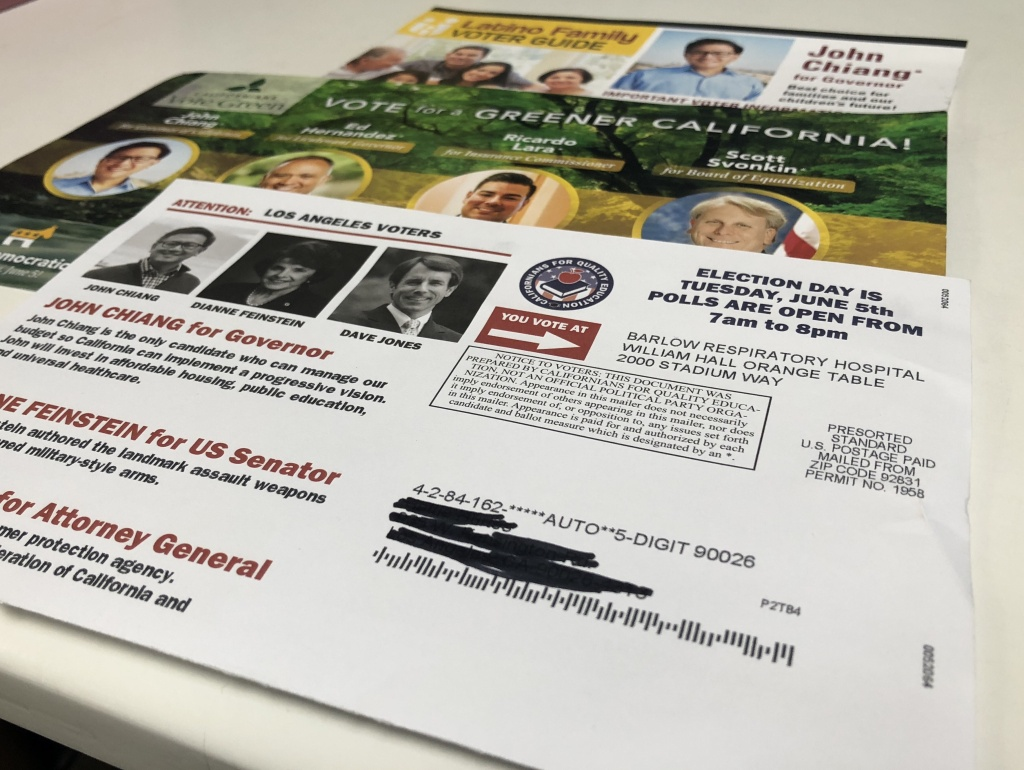 A sampling of slate mailers voters receive.