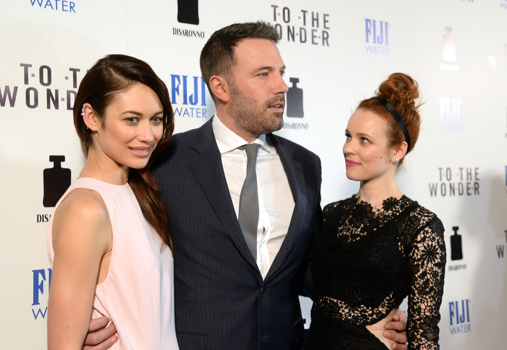 (L-R) Actors Olga Kurylenko, Ben Affleck and Rachel McAdams attend the premiere of Magnolia Pictures' 'To The Wonder' at Pacific Design Center on April 9, 2013 in West Hollywood, California.