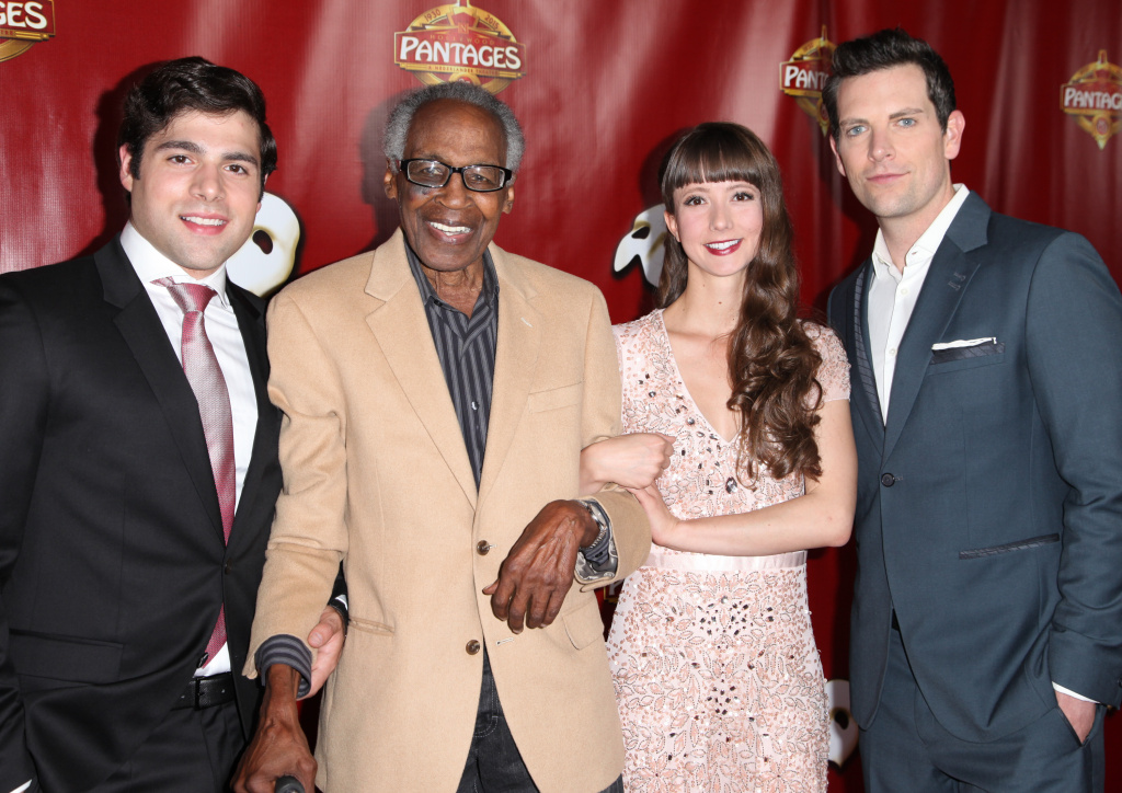 Actors Storm Lineberger, Robert Guillaume, Katie Travis and Chris Mann arrive at the opening of 'The Phantom of the Opera' at the Pantages Theatre on June 17, 2015.