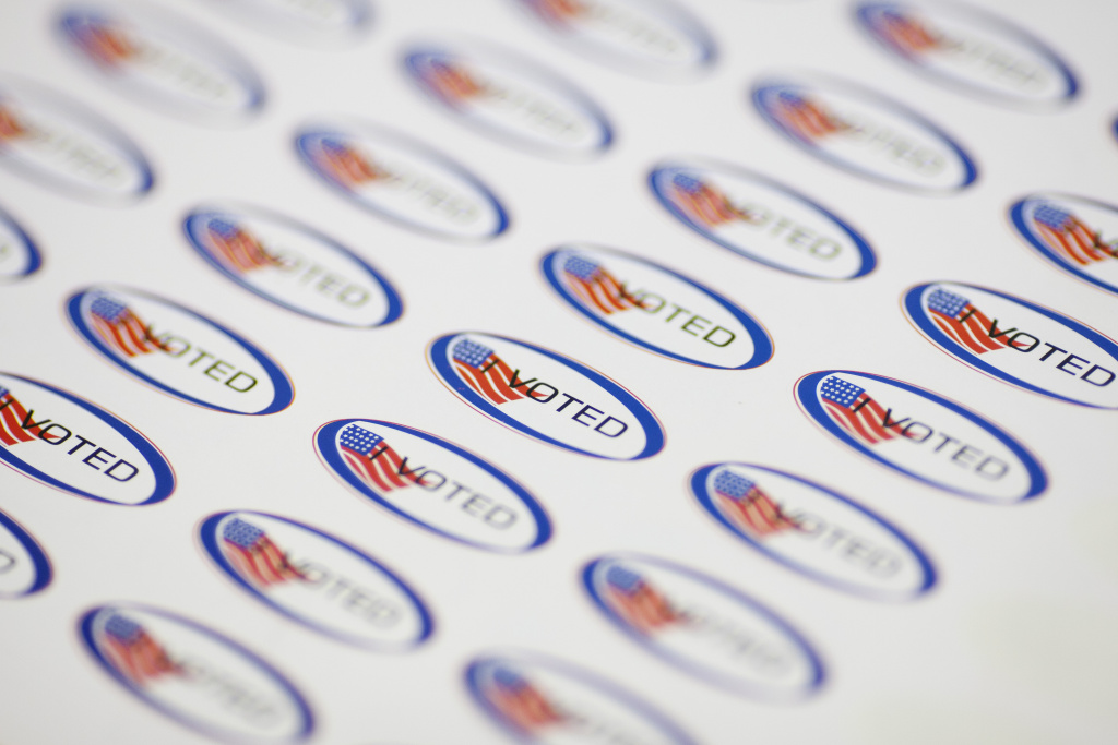 Stickers await voters at Angeles Mesa Elementary school during a special run-off election for the Los Angeles Unified School District board of education seat in District 1.