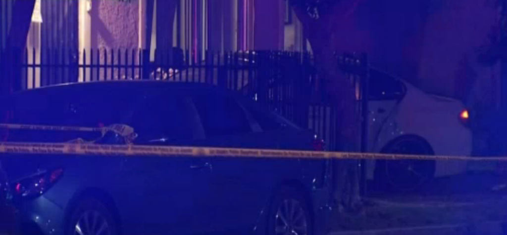 A car jumped the curb in North Hollywood Saturday and hit several pedestrians, killing one and injuring three children.