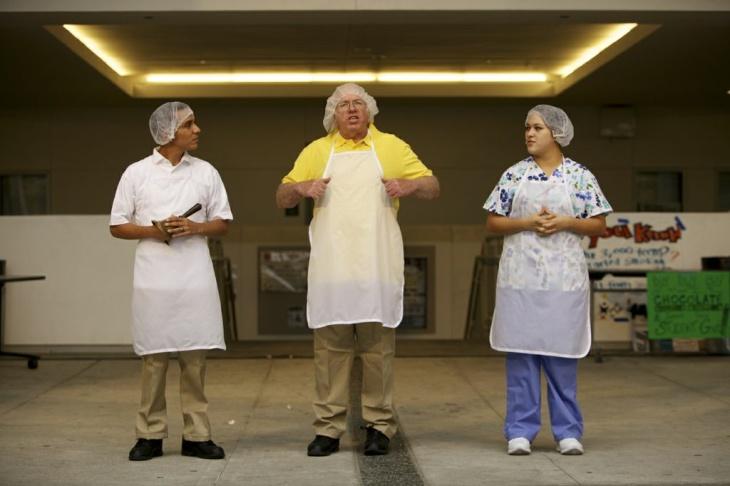 Joel Jimenez, Frank  Boeheim (center) and Jasmine Rosales in the new play