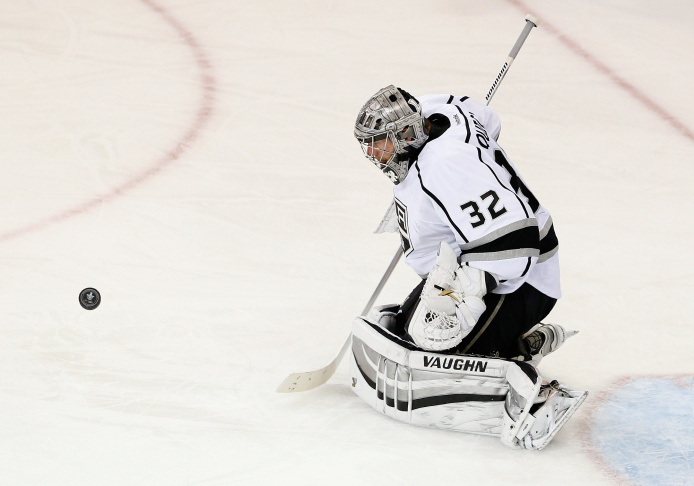 Jonathan Quick #32 of the Los Angeles Kings stretches in net during the second period of Game Three of the 2014 NHL Stanley Cup Final against the New York Rangers at Madison Square Garden on June 9, 2014 in New York, New York.