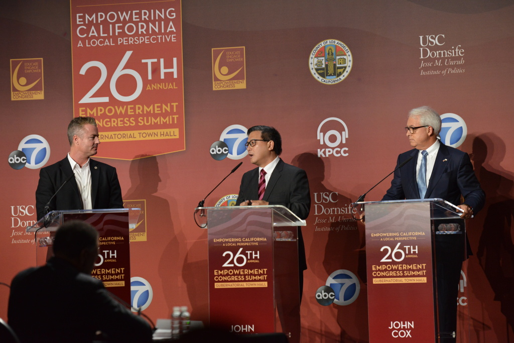 From left gubernatorial candidates Travis Allen, John Chiang and John Cox on stage at the 26th Annual Empowerment Congress Summit at |USC on Jan. 13, 2018.
