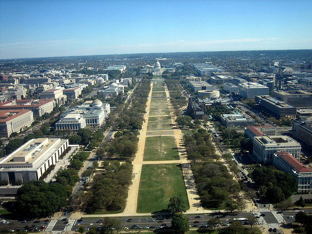 The National Mall and the Capitol as seen from inside the Washington Monument. A man poured gasoline on his head and set himself on fire on the National Mall in the nation's capital. The man has been airlifted to the hospital, police and fire officials said Friday afternoon.
