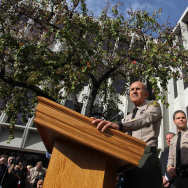 Former Los Angeles County Sheriff Lee Baca announces his retirement on January 7, 2014 in Los Angeles.