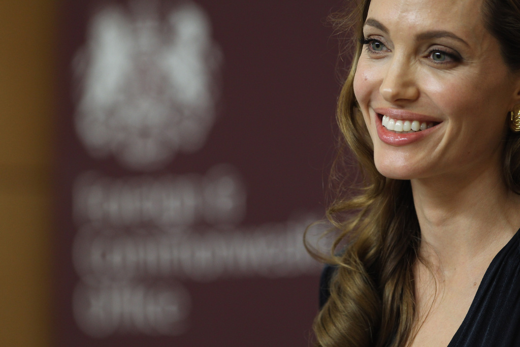 Actress Angelina Jolie speaks ahead of a screening of her new film 'In the Land of Blood and Honey' at the Foreign Commonwealth Office (FCO) on May 29, 2012 in London.