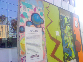 This is a sample of the Berlin Wall as see at the Los Angeles-based Wende Museum, a non-profit organization dedicated to acquiring, preserving, and enabling access to cultural and political objects, personal histories and documentary materials of Cold War-era Eastern Europe.