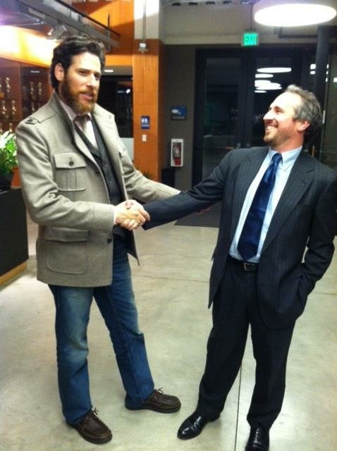 The DeBord Report Live's first guest: Sasha Strauss of Innovation Protocol. He's taller and I have the much older suit.