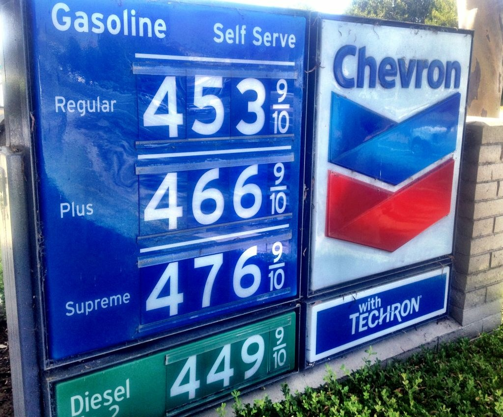 Gas prices at a station in Newport Beach.