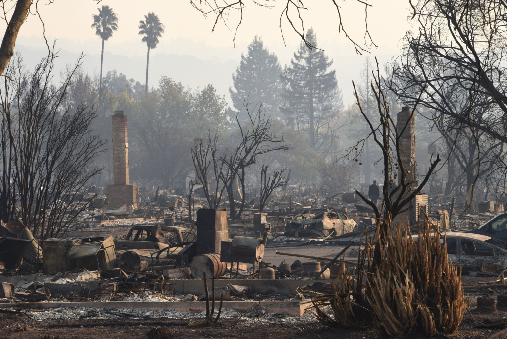 Extensive residential devastation is seen after wildfires ripped through the Coffey Park neighborhood of Santa Rosa, California on October 11, 2017.