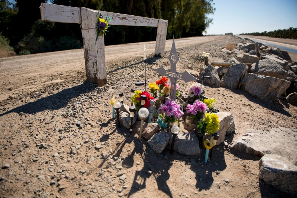 A memorial sits next to the West Main Canal near the Colorado River that acts as the US/Mexico border in Yuma, Arizona, on February 15, 2017.