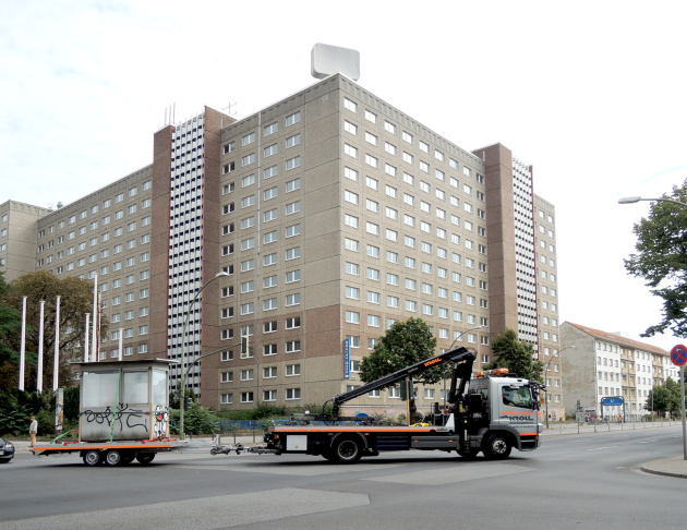 A former East German guard house was briefly installed in front of 5900 Wilshire Blvd., next to where portions of the Berlin Wall also stand.