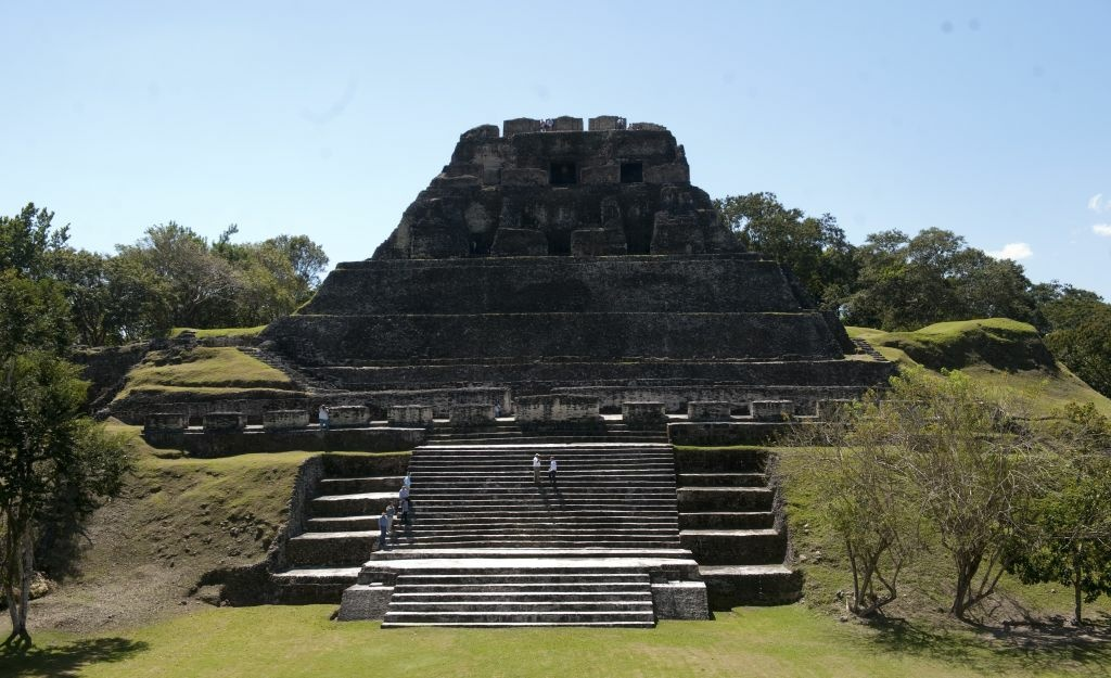Tourists visit the Xunantunich Mayan Temple on March 3, 2012 in Benque Viejo del Carmen, Belize.